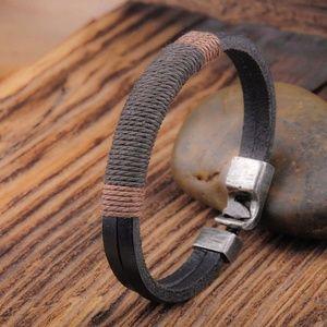 Other - Men's Black & Brown Wrapped Leather Bracelet